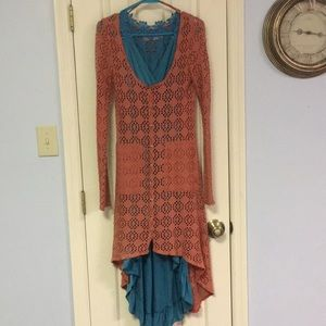 Free People size XS crocheted button-up duster